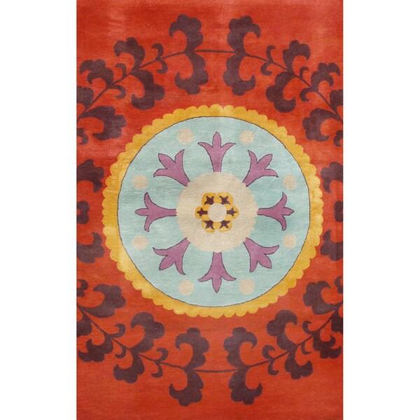 Suzani Red Wool Rug (5' x 8')