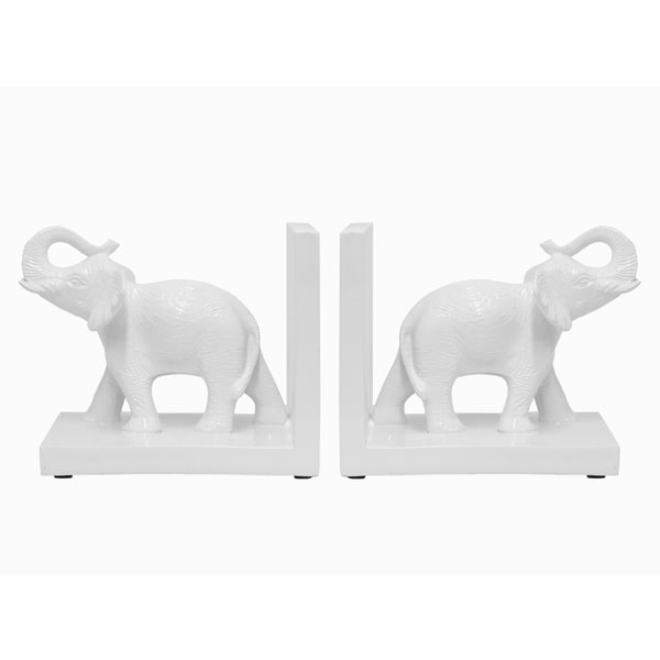 White Resin Elephant Bookend