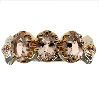 Michael Valitutti Sterling Silver Morganite and Pink Sapphire Ring