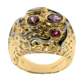 Michael Valitutti Silver Iolite And Rhodolite Ring