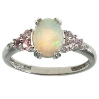 Michael Valitutti 10k White Gold Opal and Pink Sapphire Ring