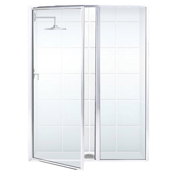 Legend Series 46 x 69 Framed Hinge Swing Shower Door with Inline Panel and Clear Glass