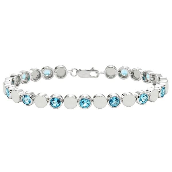 Sterling Silver Swiss Blue Topaz Beaded Bezel Bracelet
