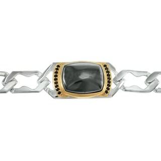 Michael Valitutti Palladium Silver Hematite and Black Spinel Men's Bracelet