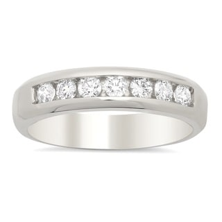 14k White Gold Men's 3/4ct TDW Diamond Wedding Ring (F-G, SI1-SI2)