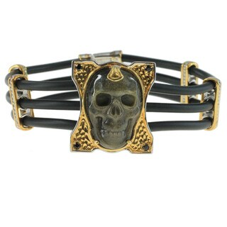 Michael Valitutti Palladium Silver Obsidian 'Skull' Men's Bracelet