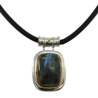 Michael Valitutti Palladium Silver Labradorite Pendant With Black Diamond Accent