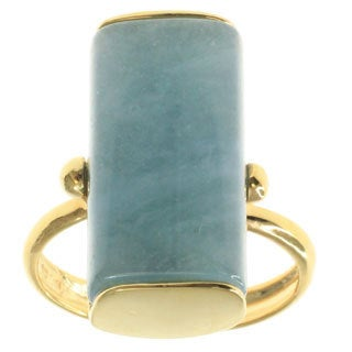 Michael Valitutti Aquamarine Palladium Silver with 14k Yellow Gold Plating Ring
