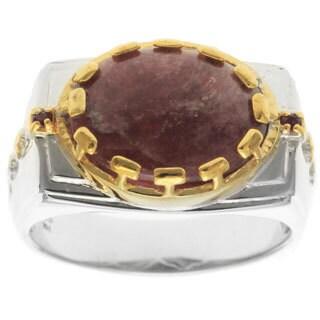 Michael Valitutti Palladium Silver Tourmaline and Ruby Men's Ring