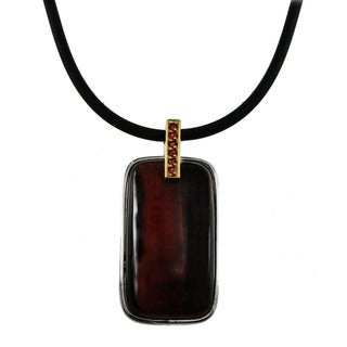 Michael Valitutti Palladium Silver Tiger's Eye Pendant With Garnet Accent