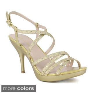 Celeste Women's Lynn-06 High Heel Open Toe T-Strap Shinning Diamond Platform Sandals