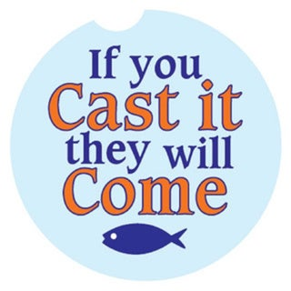 Absorbent Stone Car Coaster 'If You Cast It They Will Come' (Set of 2)