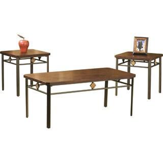 Roman Wood and Metal Table (Set of 3)