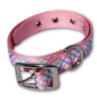 Laso Classic Nylon Fashion Pink Patterned Metal Buckle Dog Collar