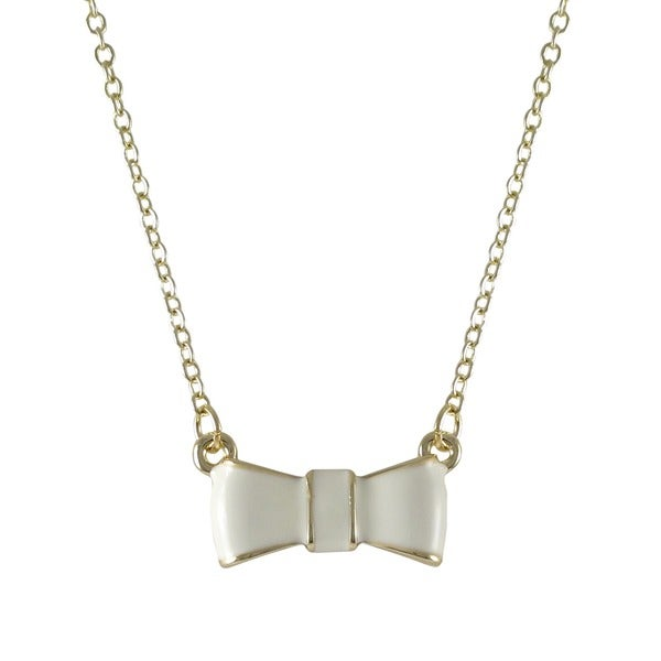 Gold Finish Enamel Bow Girls Necklace