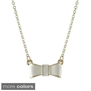 Gold Finish Enamel Bow Girls Necklace