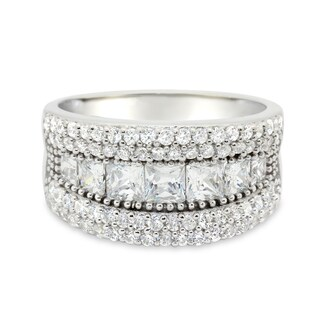 Gioelli Sterling Silver Princess-cut Cubic Zirconia Ring