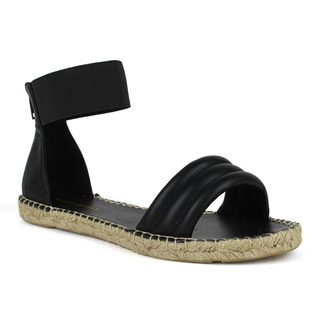 Mark and Maddux Women's Woven Flat Open Toe Ankle-Strap Sandals