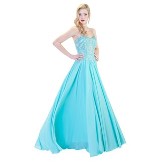 Daniella Collection Ocean-colored Flared Beaded Rhinestone Dress