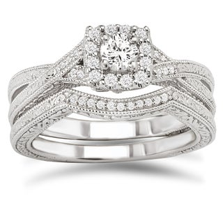 Avanti 14k White Gold 3/8ct TDW Diamond Bridal Ring Set (G-H, SI1-SI2)