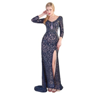 Daniella Collection Navy Lace Rhinestone Dress