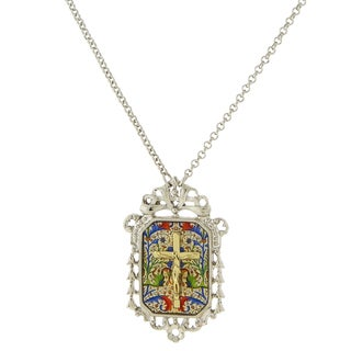 The Vatican Library Collection 1928 Jewelry Silvertone Crucifix Mosaic/ Filigree Pendant