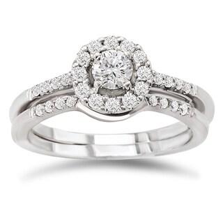 Avanti 14k White Gold 1/2ct TDW Diamond Round Halo Bridal Ring Set (G-H, SI1-SI2)