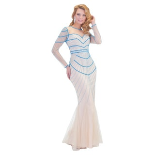 Daniella Collection Women's Ocean/ Nude Evening Gown