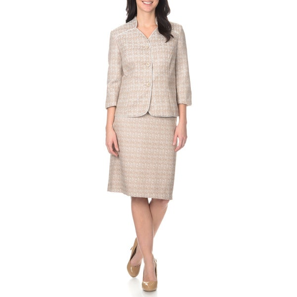 Danillo Women's Collarless Jacquard 2-piece Jacket and Skirt Set