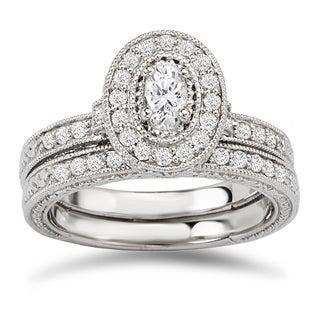 Avanti 14k White Gold 5/8ct TDW Diamond Oval Halo Vintage Bridal Ring Set (G-H, SI1-SI2)