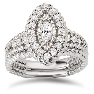 Avanti 14k White Gold 3/4ct TDW Diamond Marquise Halo Bridal Ring Set (G-H, SI1-SI2)