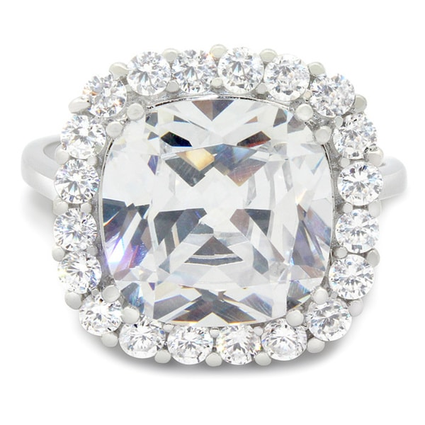 Sterling Silver 12mm Cushion-Cut Cubic Zirconia Ring