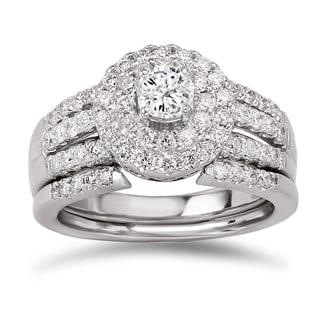 Avanti 14k White Gold 1 1/10ct TDW Diamond Double Halo Bridal Ring Set (G-H, SI1-SI2)