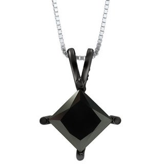 Noori 14k White Gold 1 1/2ct Certified Black Princess-cut Diamond Solitaire Necklace