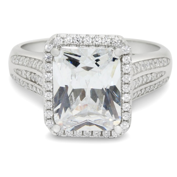 Sterling Silver 10x8 mm Emerald-cut Cubic Zirconia Ring