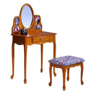Bernards Oak Picture Frame Vanity and Bench Set