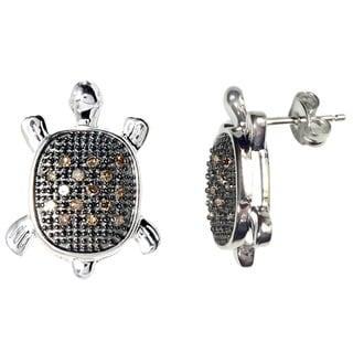Sterling Silver 1/6ct TDW Brown Diamond Turtle Earrings (I2-I3)