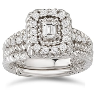 Avanti 14k White Gold 5/8ct TDW Diamond Emerald-cut Halo Bridal Ring Set (G-H, SI1-SI2)