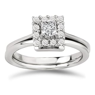 Avanti 14k White Gold 1/2ct TDW Diamond Princess-cut Halo Bridal Ring Set (G-H, SI1-SI2)