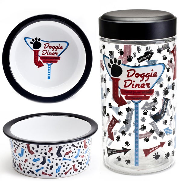 Tara Reed Designs Doggie Diner 3-piece Bowl and Glass Jar Set