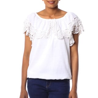 Handcrafted Cotton 'Feminine Illusion' Blouse (India)