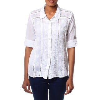 Handcrafted Cotton 'Morning Glory' Blouse (India)