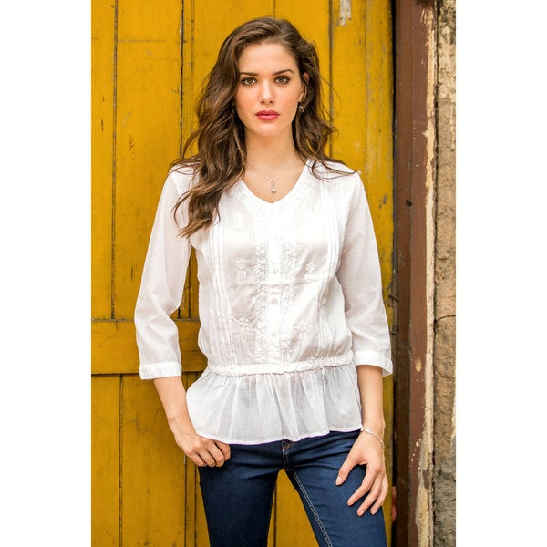Handcrafted Cotton 'Harmony In White' Peplum Blouse (India)