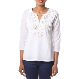 Handcrafted Cotton 'White Princess' Tunic (India)