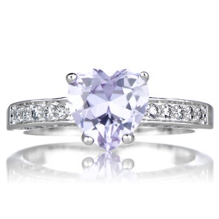 Brass based Lavender Heart Cubic Zirconia Promise Ring