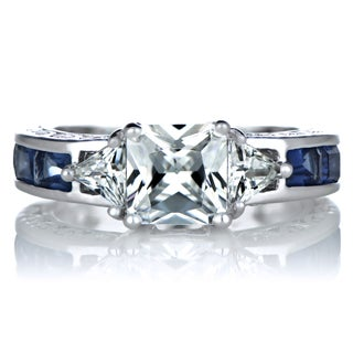 Sterling Silver Three Stone Blue Cubic Zirconia Ring