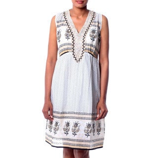 Handcrafted Beaded Cotton 'Golden Magic' Dress (India)