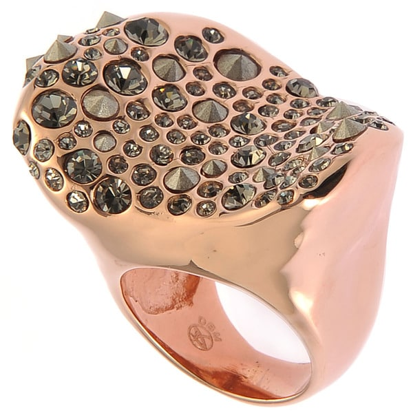De Buman 18k Rose Goldplated Transparent Black Czech & Crystal Irregular Ring