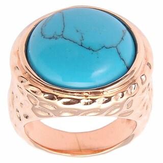 De Buman 14k Rose Goldplated Turquoise Ring