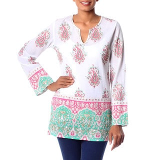 Beautiful Japipur 100% Cotton White Pink Green Border Print Embellished Sequins Beads Long Sleeve Womens Blouse Tunic (India)